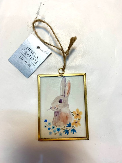 Gisela Graham Metal and Glass Easter Bunny Easter Hanger