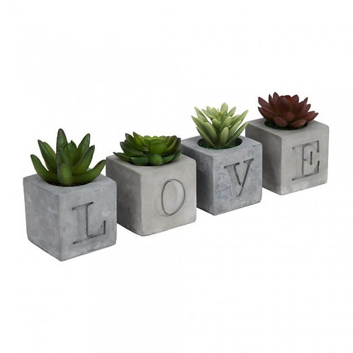 """4 Piece Cement Flower Pot """"Love"""""""