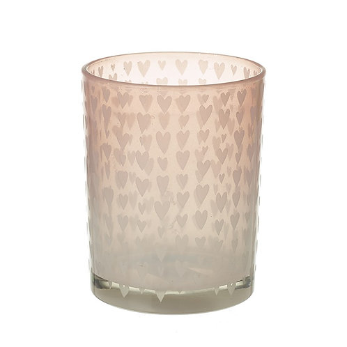 Heaven Sends Soft Blush Pink Tealight Candle Holder Jar with Hearts