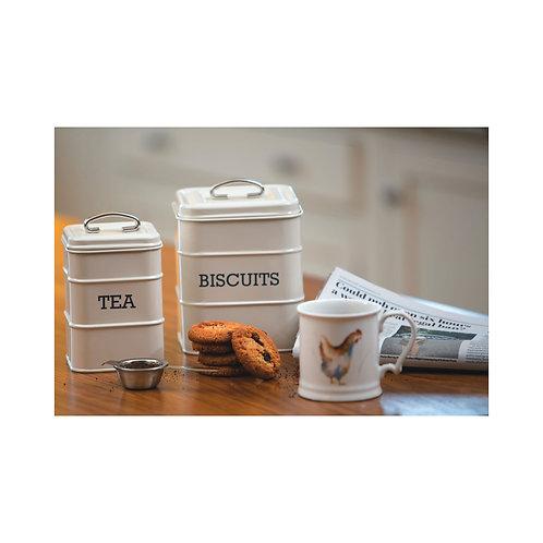 Living Nostalgia Airtight Metal Biscuit Tin - Antique Cream