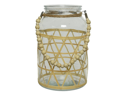 Glass Hurricane Candle Holder with Bamboo Decoration