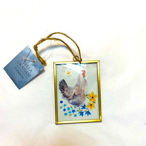 Gisela Graham Metal and Glass Spring Chicken in Flowers Easter Hanger