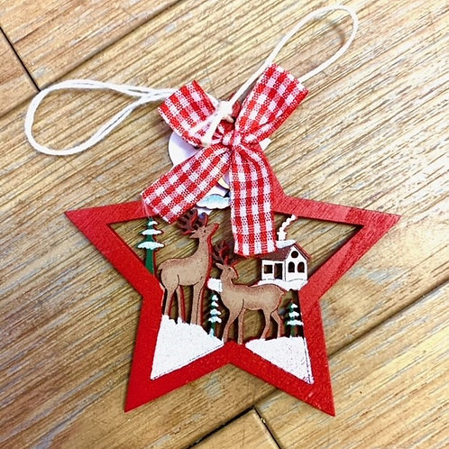 Hygge Nordic Wooden Red Gingham Star with Two Reindeer