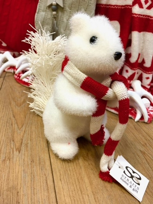 Straits Cute Brush White Squirrel with Red/White Scarf