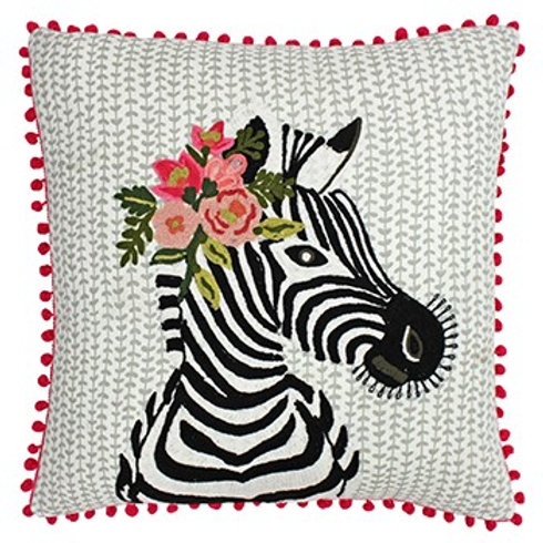 Funky Zebra Embroidered and Pom Poms Cushion by Riva Home 45x45cm