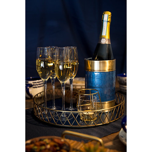 BarCraft Serving Tray in Blue and Brass 35cm