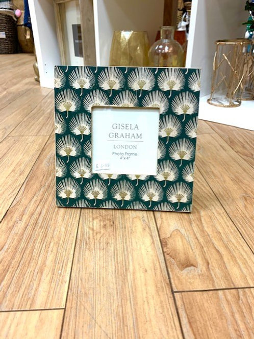 "Gisela Graham Green Fan Leaf Photo Frame 4"" x 6"""