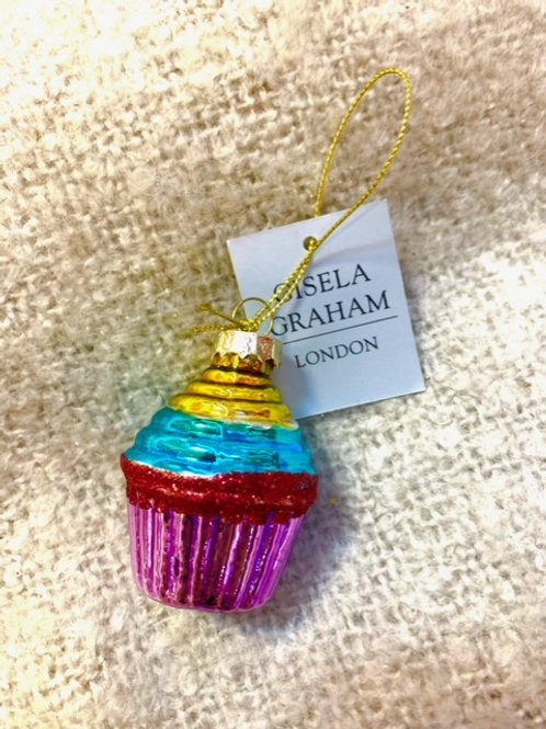 Gisela Graham Glass Cupcake Bauble Pink Red Blue Gold