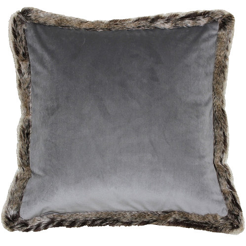 Kiruna Grey Square Cushion with Faux Fur Edging by Riva Home 45x45cm