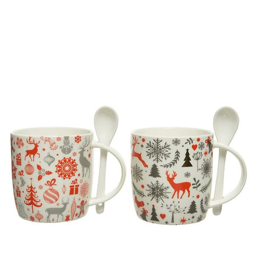 Porcelain Christmas Mug with Spoon - Grey with Red