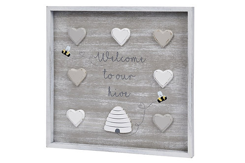 Bee-utiful Bee Hive Home Heart Hanging Plaque