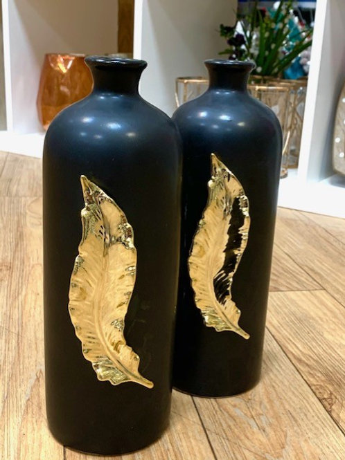 Hestia Matt Black Ceramic Bottle Vase with Gold 3D Feather