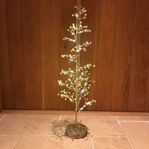 Gisela Graham Gold Glitter Wire Tree with Crystals and Lights