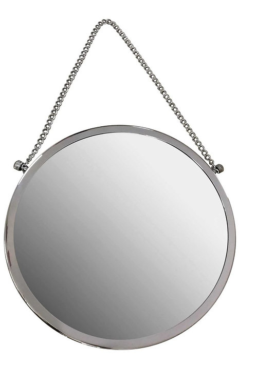 Round Chrome Mirror with Chain