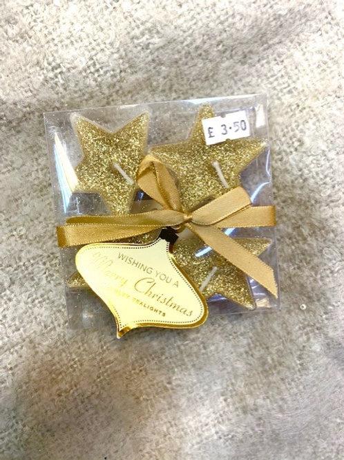 Set of 4 Gold Glitter Tealights