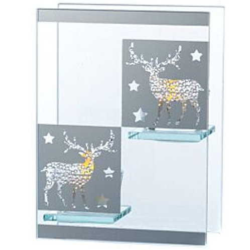 Silver Double Tealight Holder - Reindeer