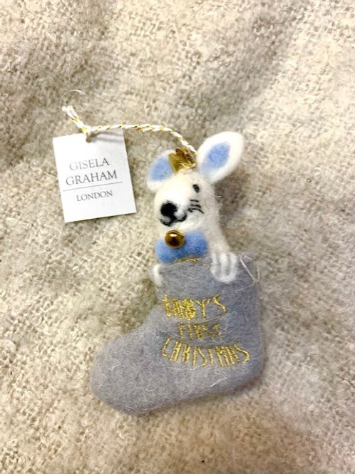 """Gisela Graham Felted Rabbit in Stocking """"Baby's First Christmas"""""""