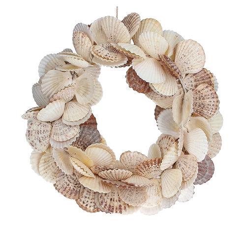 Gisela Graham Shell Wreath - Natural Scallop 34cm