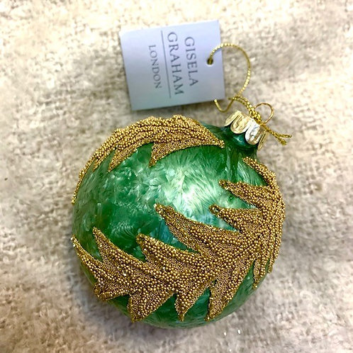 Gisela Graham Green Glass Bauble with Gold Bead Detail