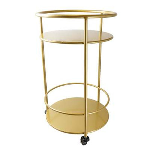 Candlelight Round Metal Gold Drinks Trolley - Art Deco