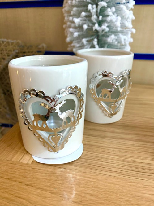 White Ceramic Tealight Holder with Silver Appliqued Stag Design