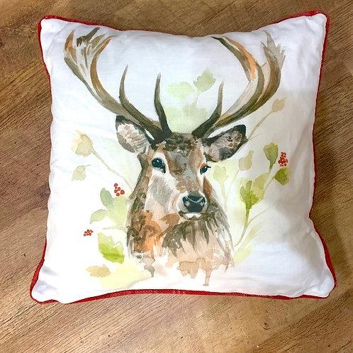 Evans Lichfield Red Tartan Stag Cushion