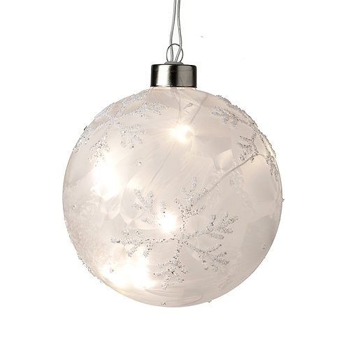 Light Up Glass Frosty Snowflake Bauble