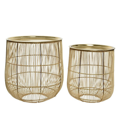 Set of 2 Rattan Art Deco design Table with Iron Frame - Gold