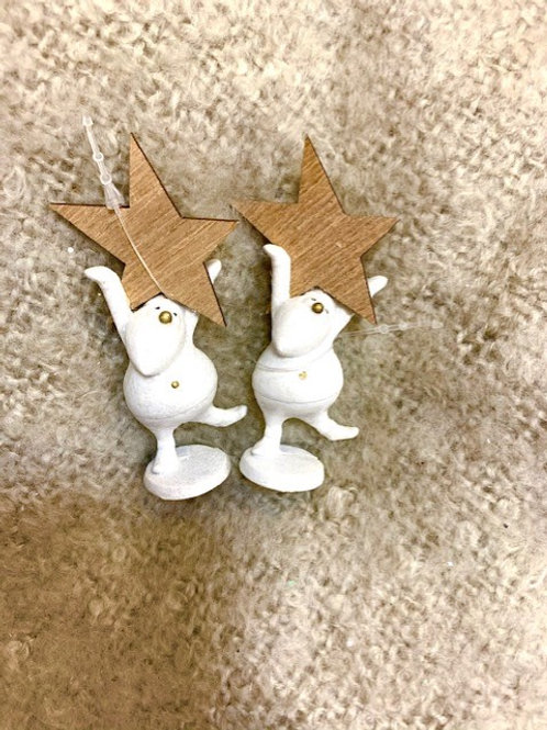 Mini Resin White Santa with Wooden Star