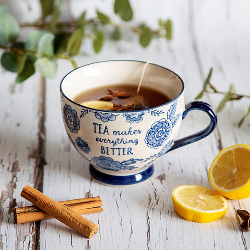Sass and Belle Blue Willow Floral Mug