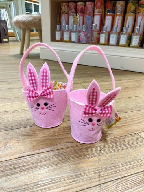Gisela Graham Pink Felted Easter Bunny Basket