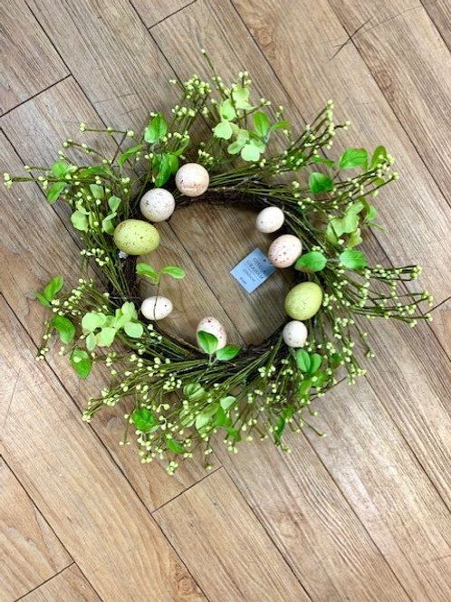 Gisela Graham Easter Floral and Egg Wreath Decoration