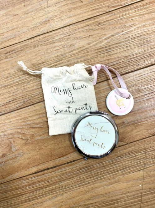 "Creative Tops ""Messy Hair and Sweatpants"" Compact Mirror and Gift Bag"