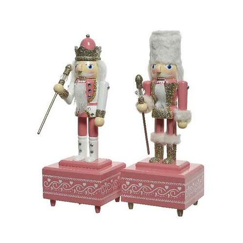 Pink Wooden Nutcracker Music Box - White Hat