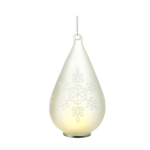 Light Up Glass Droplet Shaped Bauble