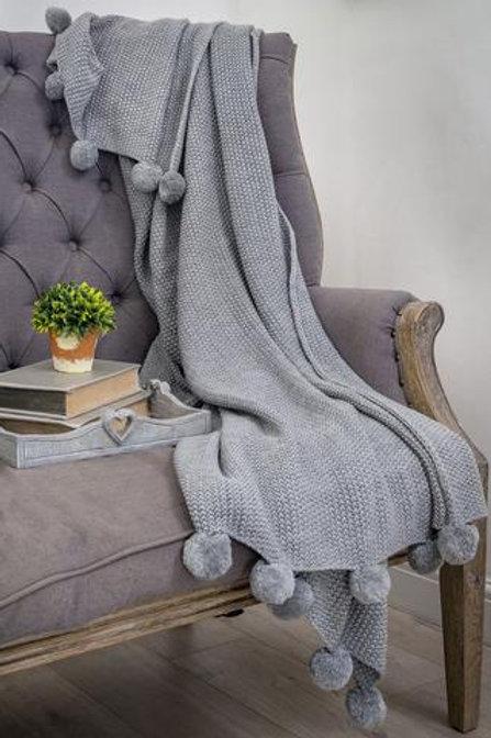 Retreat Home Grey Knitted Pom Pom Throw 130x170cm
