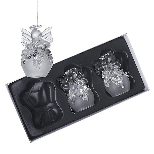 Set of 3 Glass Angels with Sequin Skirts