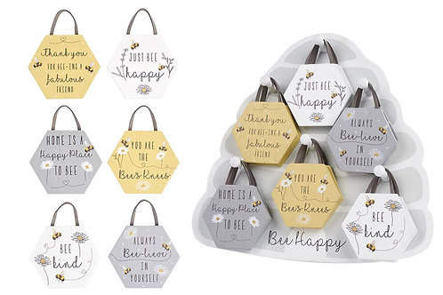 """Bee Hive Wooden Sentiment Hanger - """"Thank you for Beeing a Fabulous Friend"""""""