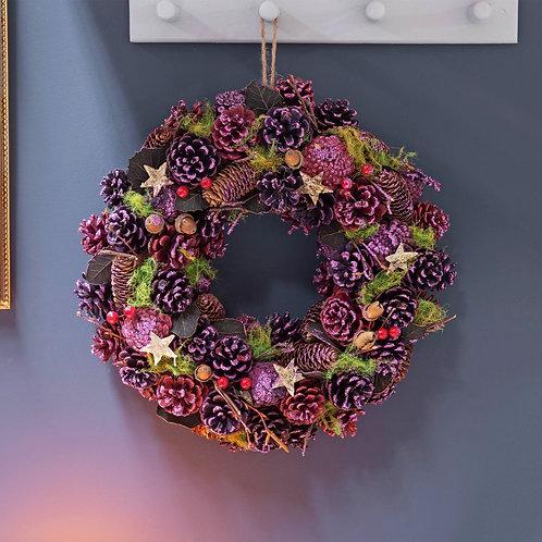 Purple and Gold Handmade Pinecone Wreath - 38cm