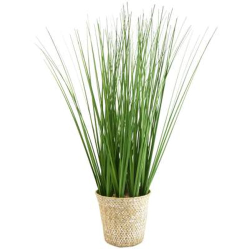 Candlelight Faux Grass in Rattan Basket Pot