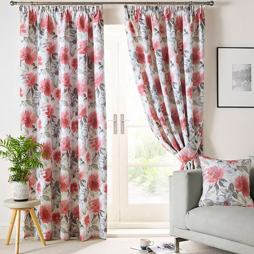 "Ashley Wilde Sofia Scarlet Pencil Pleat Ready Made Luxury Curtains 66""x90"""