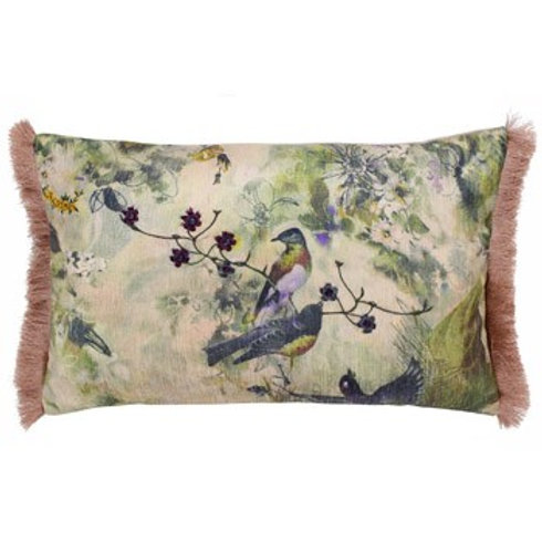 Vintage Birds Blush Pink Oblong Cushion 30cm x 50cm