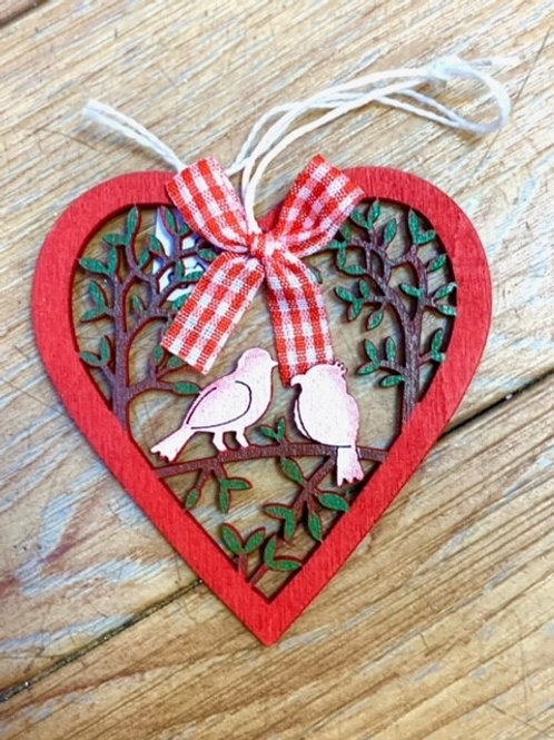 Hygge Nordic Wooden Red Gingham Heart with Birds