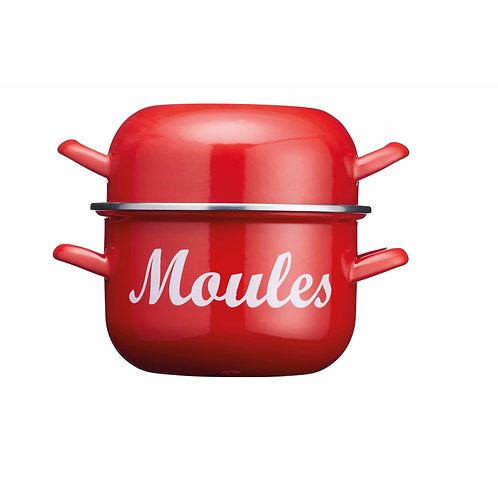 KitchenCraft World of Flavours 2.5 Litre Enamel Mussel Pot - Red