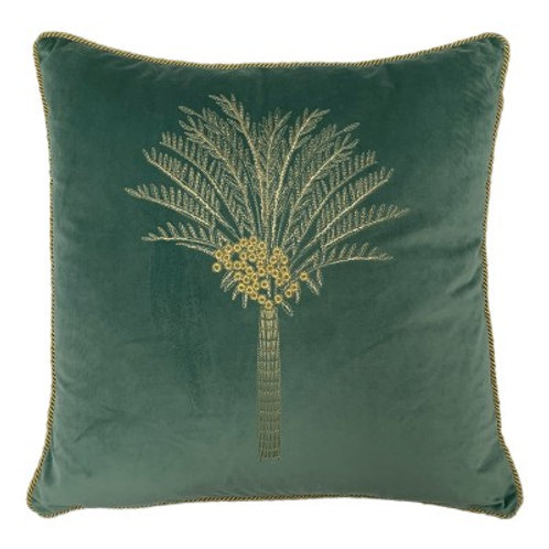 Desert Palm Mineral Green and Gold Square Cushion by Riva Home 50x50cm