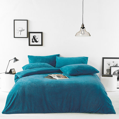 Furn Sherpa Teal Fleece Duvet Set - Double