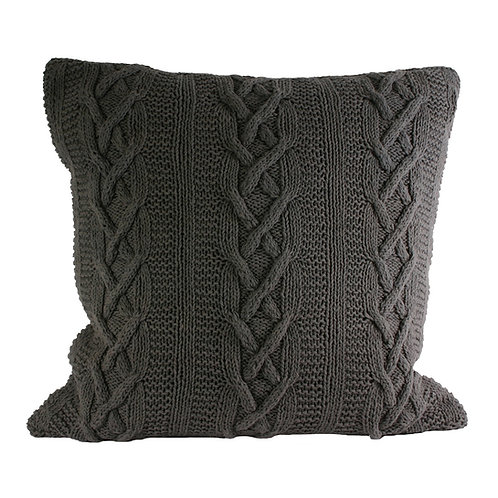 Aran Charcoal Knitted Cushion by Riva Home 55x55cm