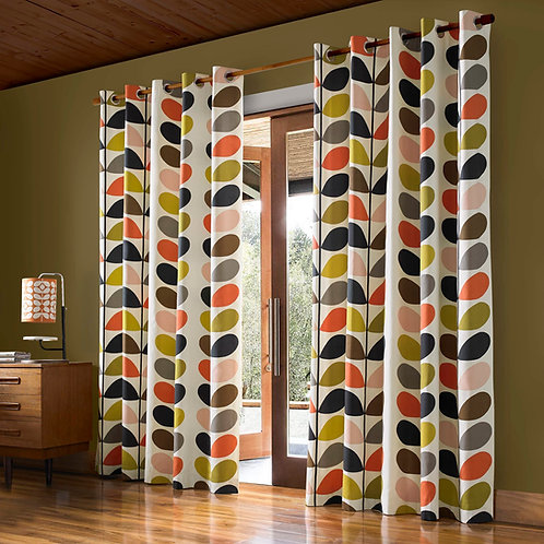 "Orla Kiely Ready Made Luxury Curtains Multi Stem Design Pencil Pleat 46""x54"""