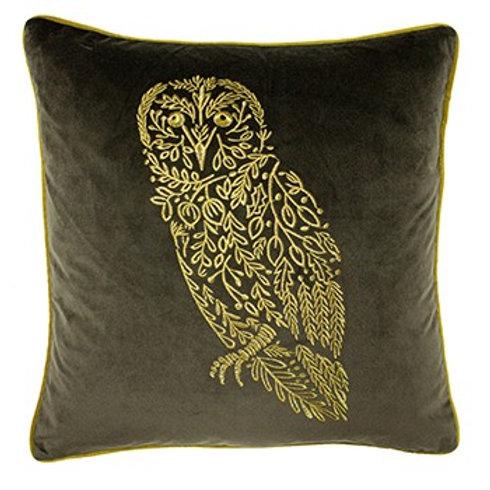 Forest Fauna Owl Velvet Cushion Grey and Gold 50x50cm