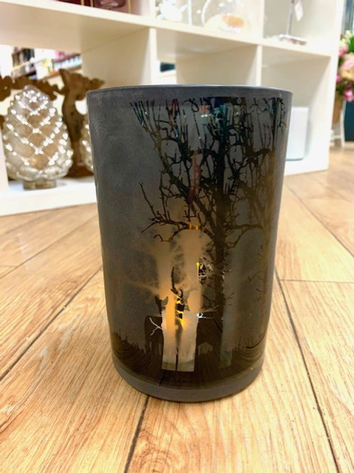 Matt Black Etched Glass Hurricane Lantern with Stags and Forest Scene